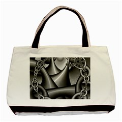 Grey Fractal Background With Chains Basic Tote Bag
