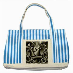 Grey Fractal Background With Chains Striped Blue Tote Bag