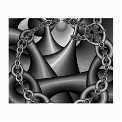 Grey Fractal Background With Chains Small Glasses Cloth (2 Side)