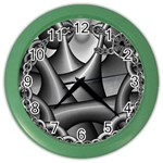 Grey Fractal Background With Chains Color Wall Clocks Front