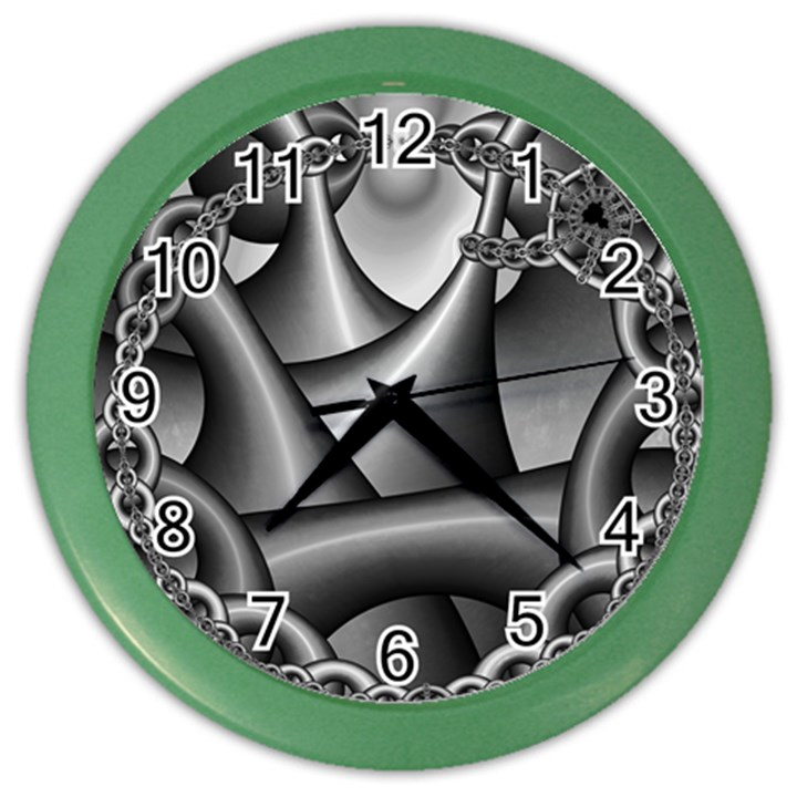Grey Fractal Background With Chains Color Wall Clocks