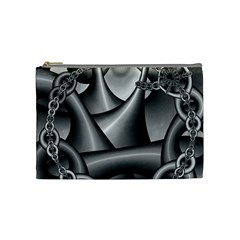 Grey Fractal Background With Chains Cosmetic Bag (medium)