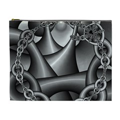 Grey Fractal Background With Chains Cosmetic Bag (xl)