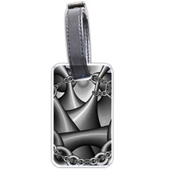 Grey Fractal Background With Chains Luggage Tags (one Side)