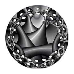 Grey Fractal Background With Chains Ornament (round Filigree)