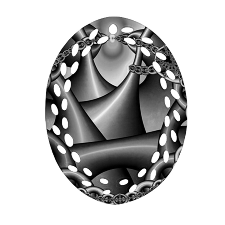 Grey Fractal Background With Chains Oval Filigree Ornament (Two Sides)