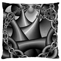 Grey Fractal Background With Chains Large Cushion Case (Two Sides)