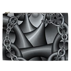 Grey Fractal Background With Chains Cosmetic Bag (XXL)
