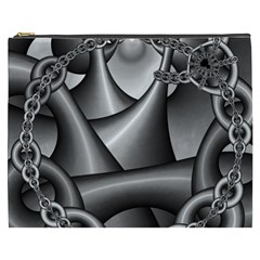 Grey Fractal Background With Chains Cosmetic Bag (XXXL)