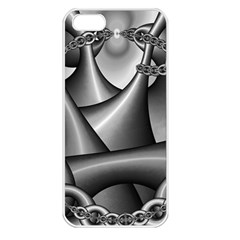 Grey Fractal Background With Chains Apple iPhone 5 Seamless Case (White)