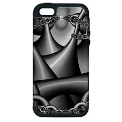 Grey Fractal Background With Chains Apple Iphone 5 Hardshell Case (pc+silicone)