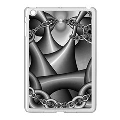 Grey Fractal Background With Chains Apple iPad Mini Case (White)