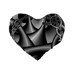 Grey Fractal Background With Chains Standard 16  Premium Heart Shape Cushions