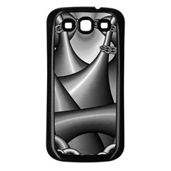 Grey Fractal Background With Chains Samsung Galaxy S3 Back Case (black)
