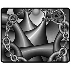 Grey Fractal Background With Chains Double Sided Fleece Blanket (medium)