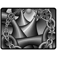 Grey Fractal Background With Chains Double Sided Fleece Blanket (Large)