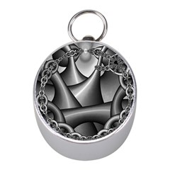 Grey Fractal Background With Chains Mini Silver Compasses