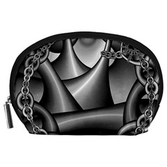 Grey Fractal Background With Chains Accessory Pouches (Large)