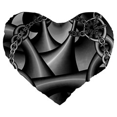 Grey Fractal Background With Chains Large 19  Premium Flano Heart Shape Cushions