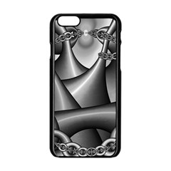 Grey Fractal Background With Chains Apple Iphone 6/6s Black Enamel Case