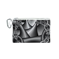 Grey Fractal Background With Chains Canvas Cosmetic Bag (S)