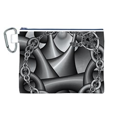 Grey Fractal Background With Chains Canvas Cosmetic Bag (L)