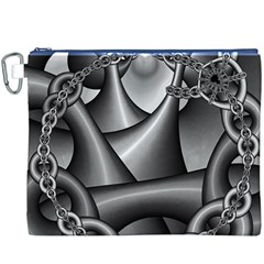Grey Fractal Background With Chains Canvas Cosmetic Bag (XXXL)