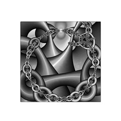 Grey Fractal Background With Chains Satin Bandana Scarf
