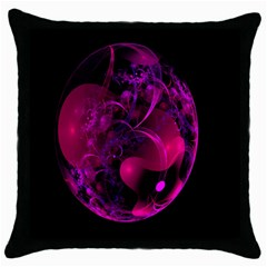 Fractal Using A Script And Coloured In Pink And A Touch Of Blue Throw Pillow Case (Black)