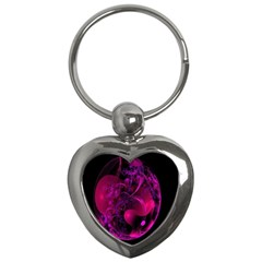Fractal Using A Script And Coloured In Pink And A Touch Of Blue Key Chains (heart)