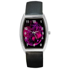 Fractal Using A Script And Coloured In Pink And A Touch Of Blue Barrel Style Metal Watch