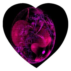 Fractal Using A Script And Coloured In Pink And A Touch Of Blue Jigsaw Puzzle (Heart)