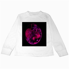 Fractal Using A Script And Coloured In Pink And A Touch Of Blue Kids Long Sleeve T-Shirts