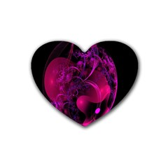Fractal Using A Script And Coloured In Pink And A Touch Of Blue Rubber Coaster (heart)