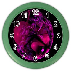 Fractal Using A Script And Coloured In Pink And A Touch Of Blue Color Wall Clocks