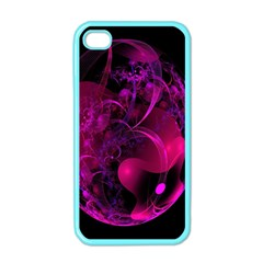 Fractal Using A Script And Coloured In Pink And A Touch Of Blue Apple iPhone 4 Case (Color)