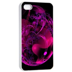 Fractal Using A Script And Coloured In Pink And A Touch Of Blue Apple Iphone 4/4s Seamless Case (white)
