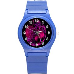 Fractal Using A Script And Coloured In Pink And A Touch Of Blue Round Plastic Sport Watch (S)