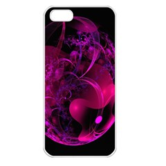 Fractal Using A Script And Coloured In Pink And A Touch Of Blue Apple iPhone 5 Seamless Case (White)