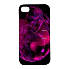 Fractal Using A Script And Coloured In Pink And A Touch Of Blue Apple Iphone 4/4s Hardshell Case With Stand