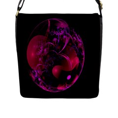 Fractal Using A Script And Coloured In Pink And A Touch Of Blue Flap Messenger Bag (L)