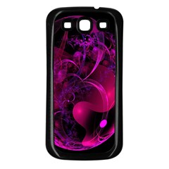 Fractal Using A Script And Coloured In Pink And A Touch Of Blue Samsung Galaxy S3 Back Case (Black)