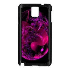 Fractal Using A Script And Coloured In Pink And A Touch Of Blue Samsung Galaxy Note 3 N9005 Case (Black)