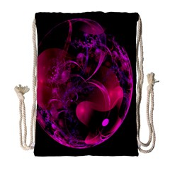 Fractal Using A Script And Coloured In Pink And A Touch Of Blue Drawstring Bag (Large)