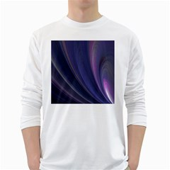 A Pruple Sweeping Fractal Pattern White Long Sleeve T Shirts
