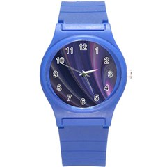 A Pruple Sweeping Fractal Pattern Round Plastic Sport Watch (S)