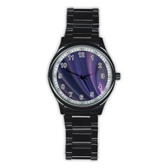 A Pruple Sweeping Fractal Pattern Stainless Steel Round Watch
