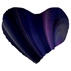 A Pruple Sweeping Fractal Pattern Large 19  Premium Flano Heart Shape Cushions