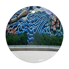 Mural Wall Located Street Georgia Usa Ornament (Round)
