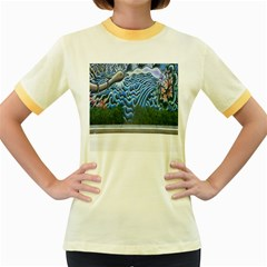 Mural Wall Located Street Georgia Usa Women s Fitted Ringer T Shirts